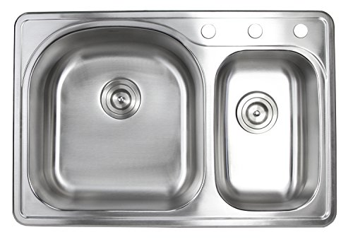 33 inch top mount drop in stainless steel 70 30 double bowl kitchen sink 18 gauge 3 faucet hole