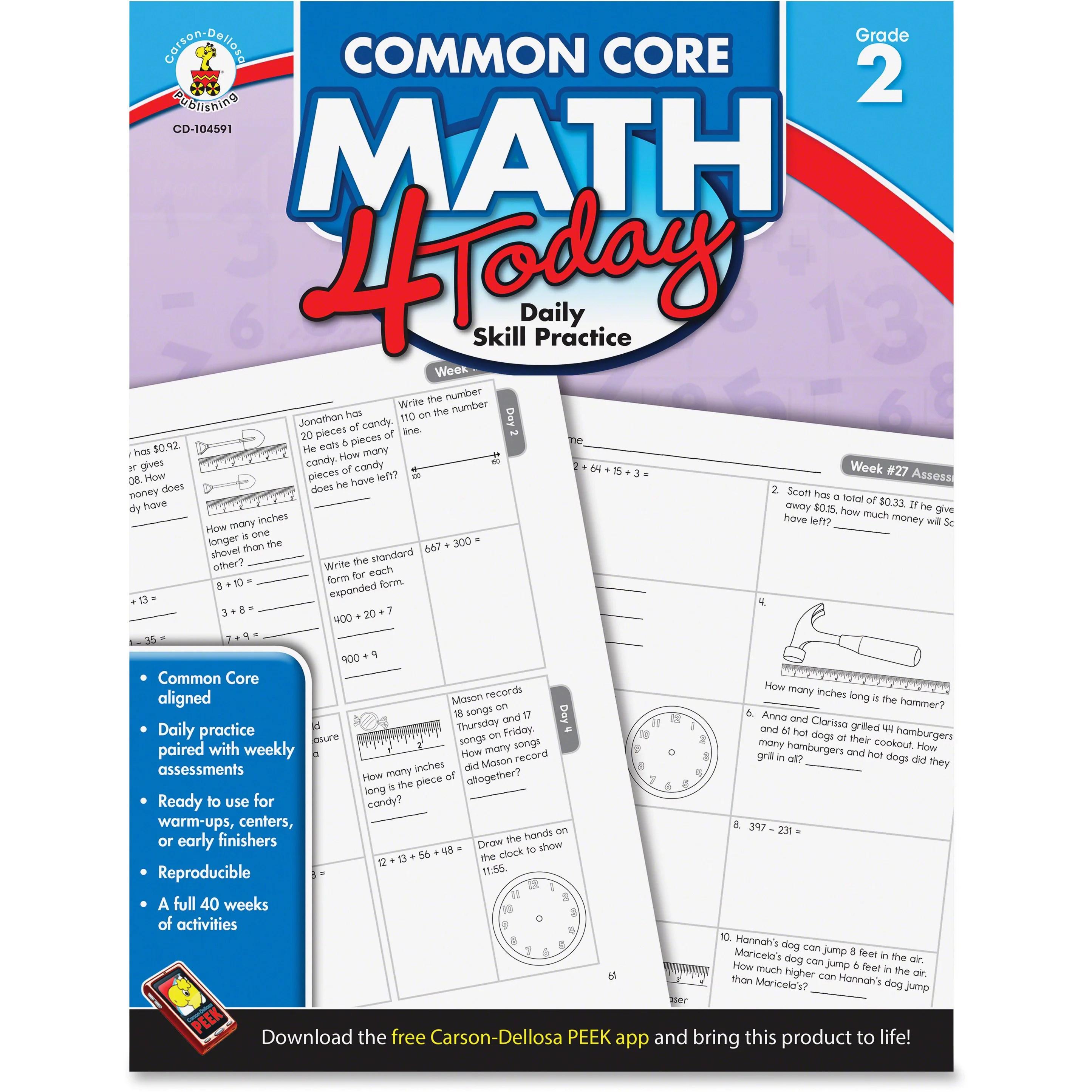 Carson Dellosa Cdp Grade 2 Common Core Math 4