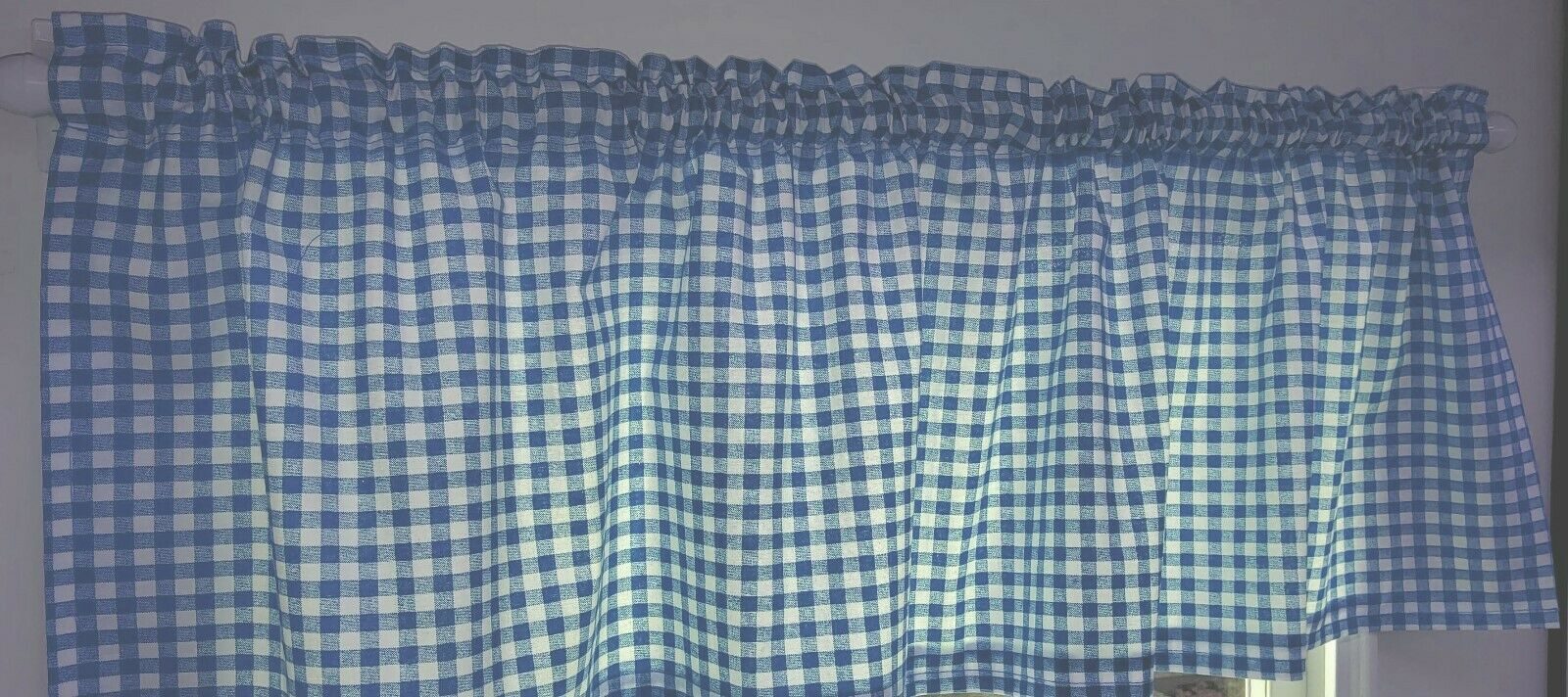 light blue white checked gingham curtain panels by penny s needful things set of 2 63 inch long
