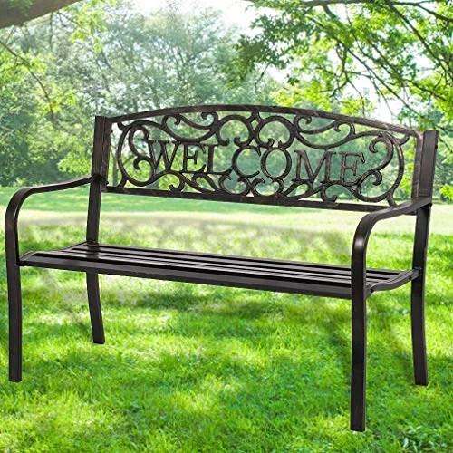 50 inch patio garden bench park yard outdoor furniture steel frame porch chair