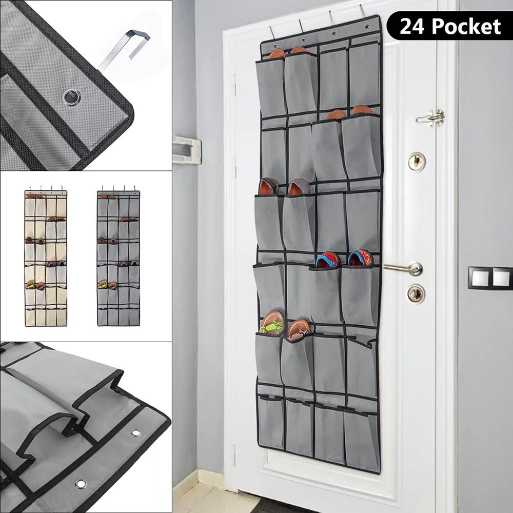 24 Pockets Shoe Organizer Over the Door Shoe Storage Rack ... on Closet Space Savers Walmart  id=35508