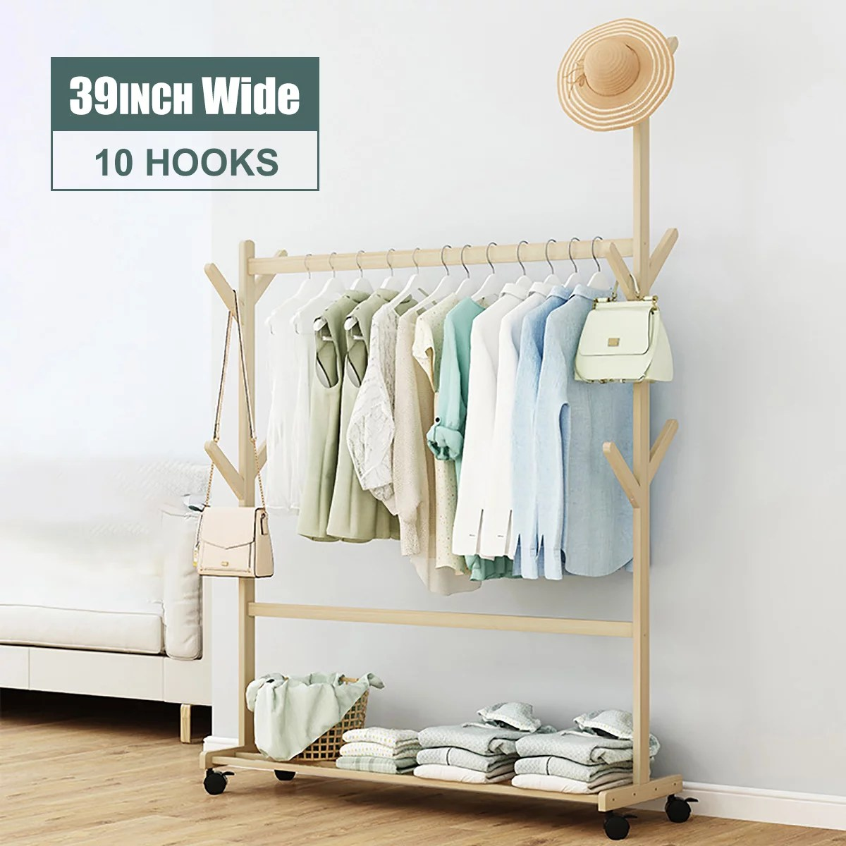 wood clothes rack on wheels rolling garment rack with 2 tier storage shelves and coat hooks for shoes clothing portable garment laundry rack for home