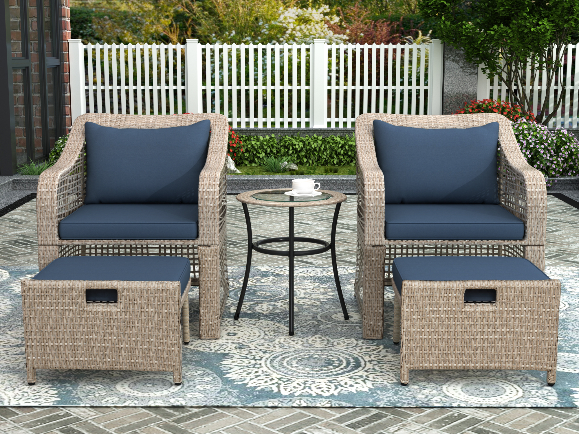 5 piece outdoor patio chairs set btmway rattan wicker patio conversation furniture with ottoman patio porch balcony bistro lounge chairs set with