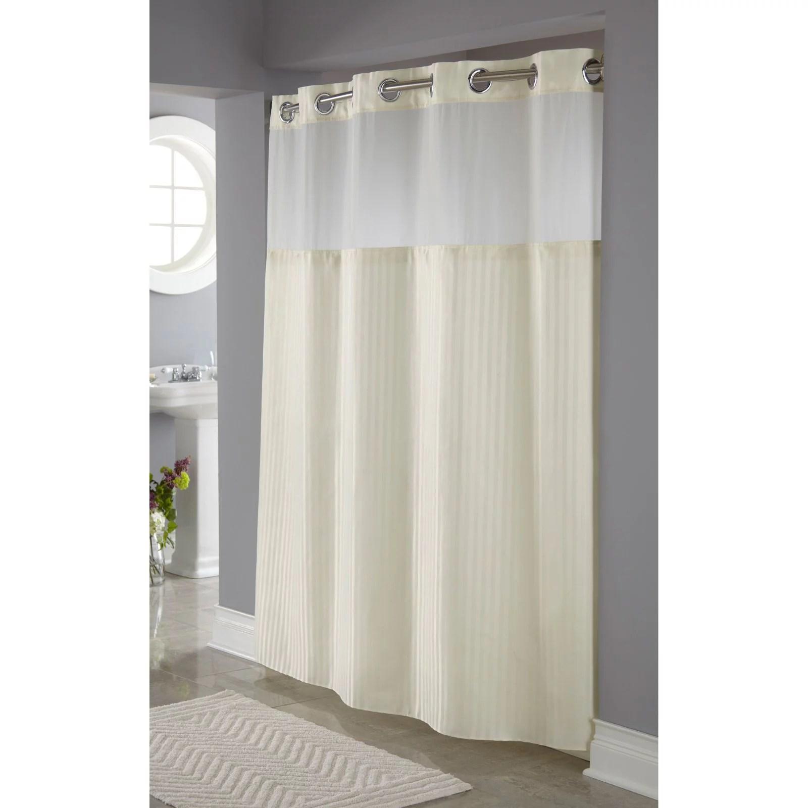 hookless classic herringbone polyester shower curtain beige