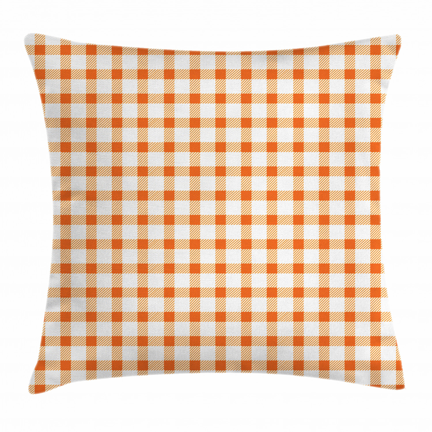 orange and white throw pillow cushion cover retro gingham style checkered squares pattern in warm colors plaid decorative square accent pillow case