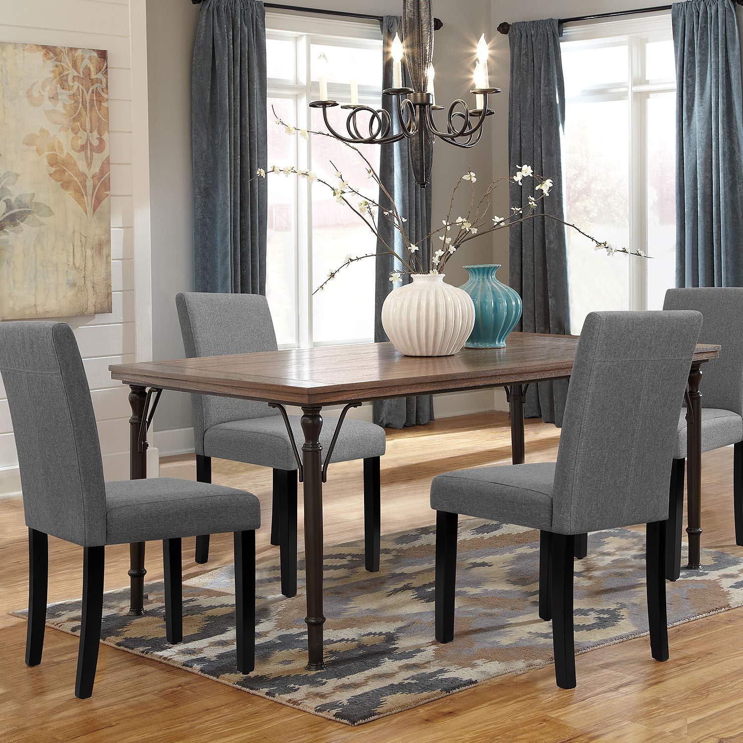 walnew set of 4 modern upholstered dining chairs with wood legs gray
