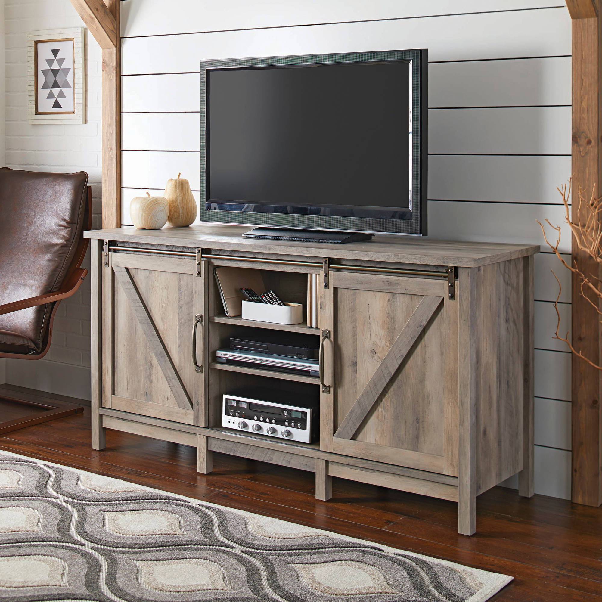 better homes gardens modern farmhouse tv stand for tvs up to 70 rustic gray finish walmart com
