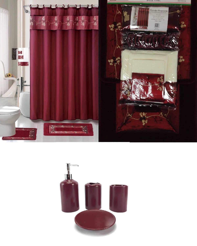 22 piece bath accessory set burgundy red bath rug set shower curtain accessories