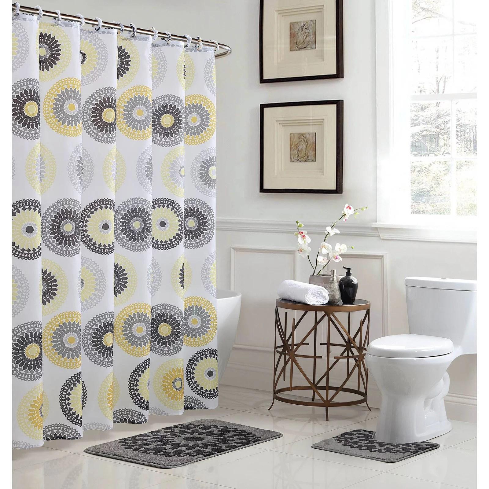 raquel 15 piece bathroom 72x72 shower curtain set yellow and gray