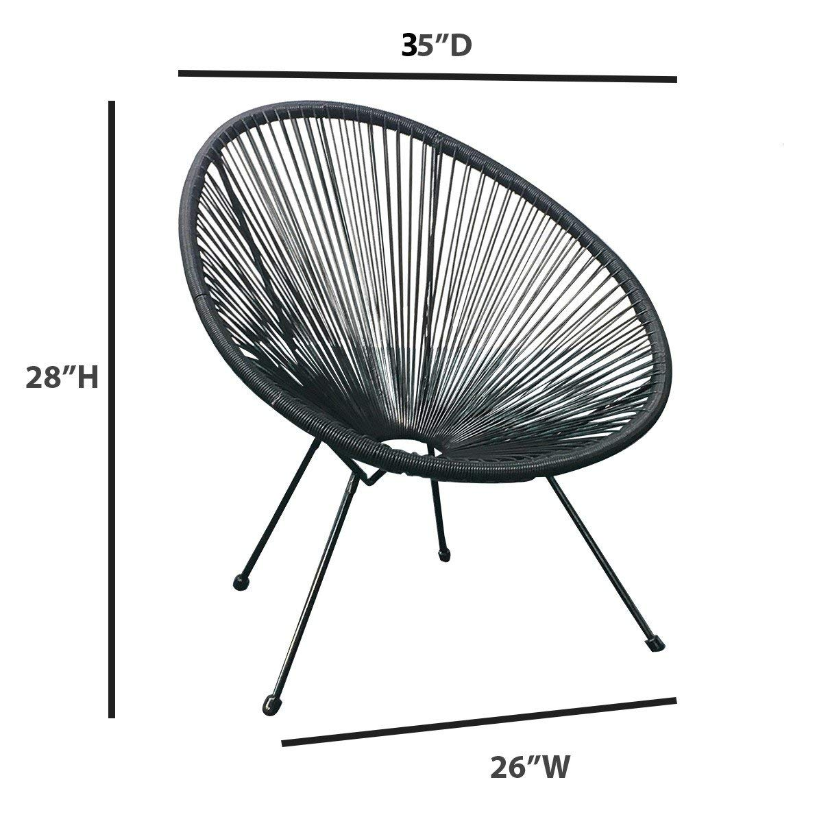 acapulco patio chair all weather weave lounge chair patio sun oval chair available for indoor outdoor 1 piece black