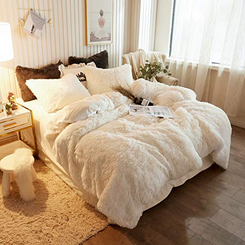 xege plush shaggy duvet cover luxury ultra soft crystal velvet bedding set 1pc 1 faux fur duvet cover zipper closure queen light beige