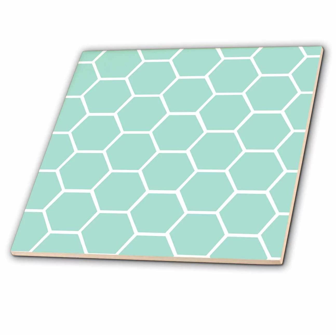 https www walmart com ip 3drose mint honeycomb pattern pastel aqua blue hexagons light teal turquoise bee hive hexagonal design ceramic tile 4 inch 983614899
