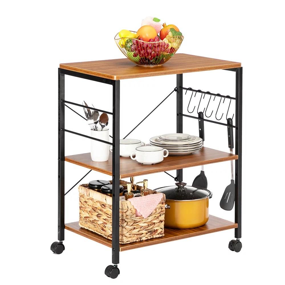 artisasset 3 tier kitchen utility cart rolling bakers rack coffee table storage shelf