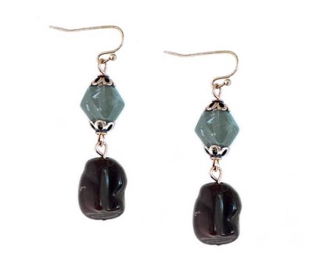 C Jewelry Brown And Olive Bead Dangle Earring