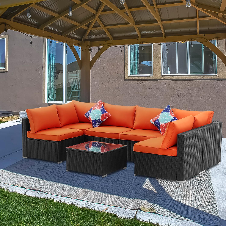 ainfox 7 pieces outdoor patio furniture sets steel frame pe rattan wicker sectional conversation sofa sets orange