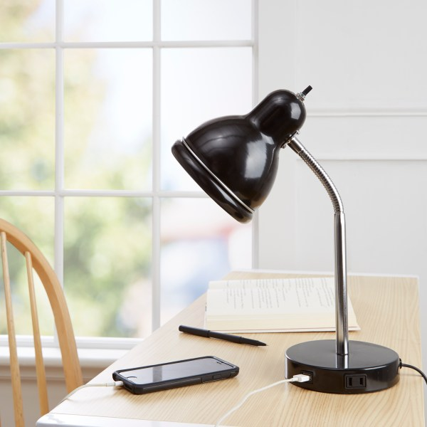 Mainstays USB Desk Lamp  Black Finish with Chrome Gooseneck     Mainstays USB Desk Lamp  Black Finish with Chrome Gooseneck   Walmart com