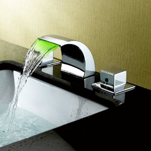 sumerain international group widespread led waterfall bathroom sink faucet