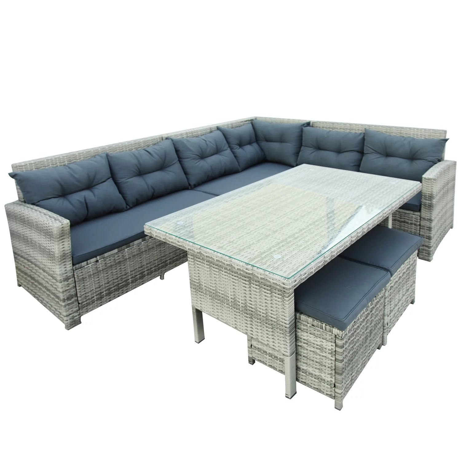 6 piece outdoor sectional patio conversation set modular wicker sofa set with removable seat cushions 2 ottoman tempered glass table bistro dining
