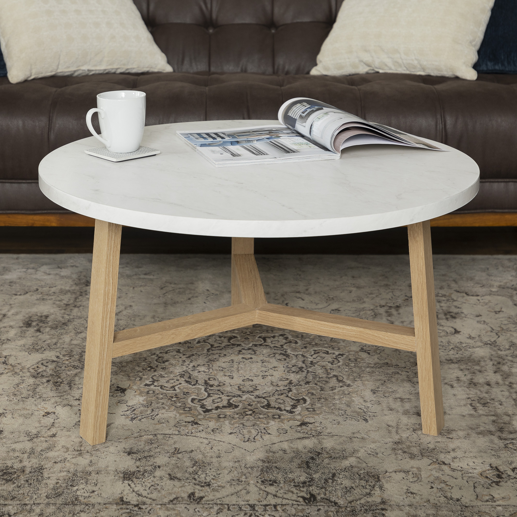 manor park mid century modern round coffee table white marble light oak
