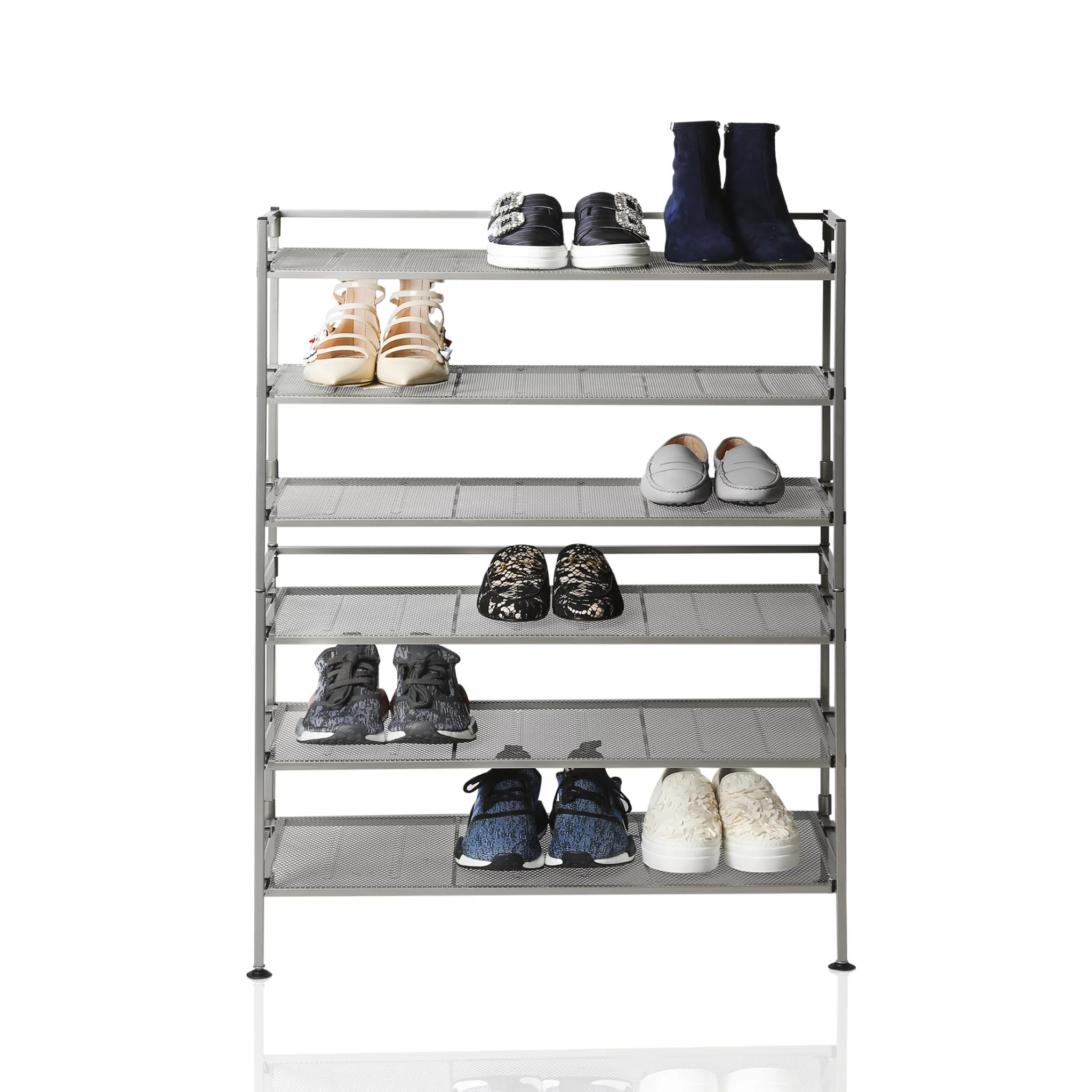 3 tier iron mesh utility shoe rack 2 pack satin pewter by seville classics