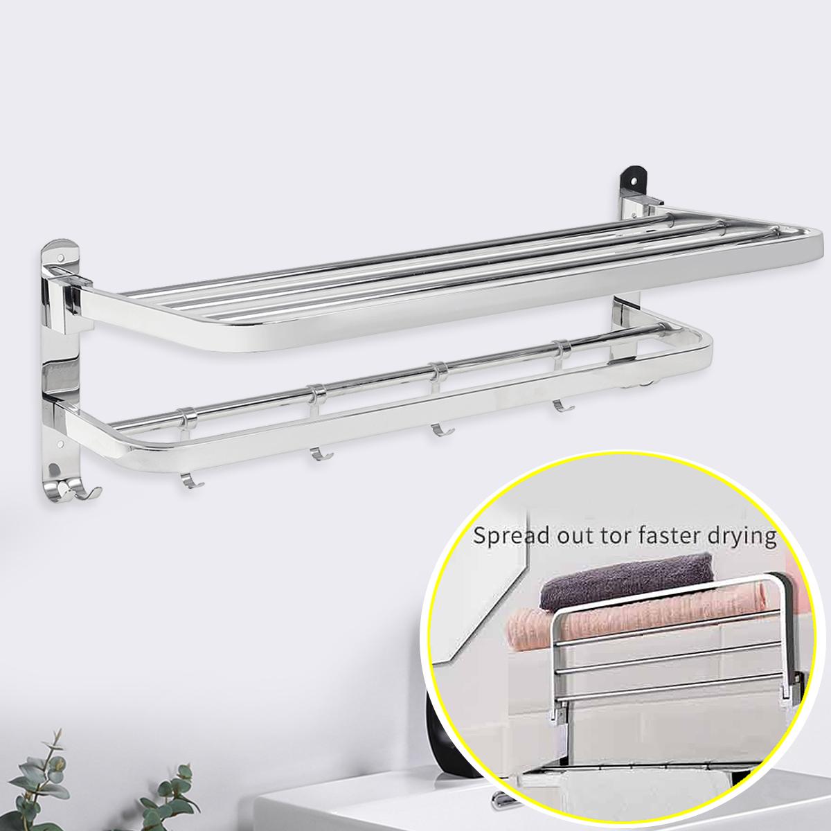 double towel bar 24 inch stainless steel hanging towel bar hotel shower towel rack bathroom towel holder wall mount storage shelf bath organizer