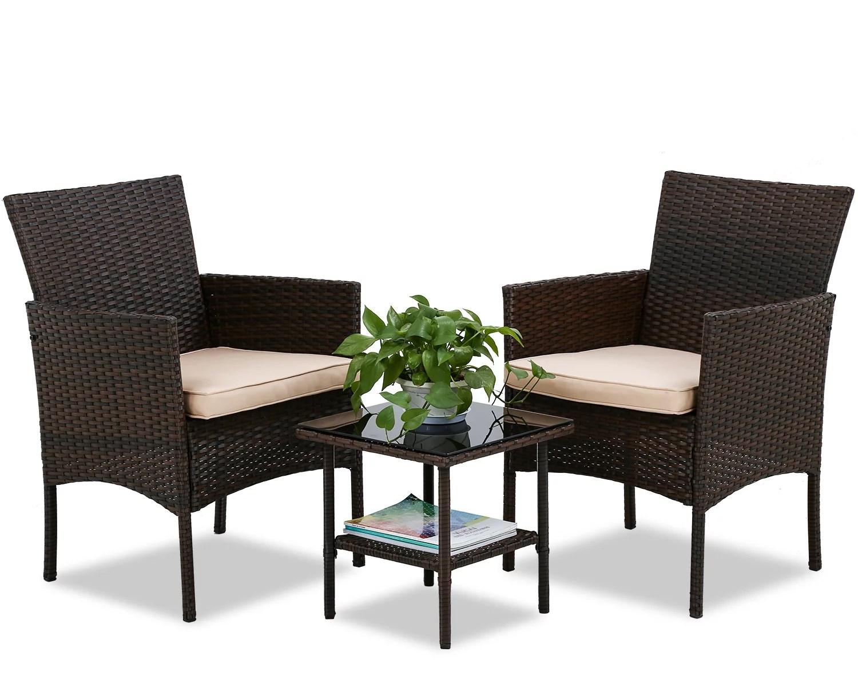 fdw outdoor patio furniture sets 3 pieces patio set wicker bistro set rattan chair conversation sets garden porch furniture sets for yard and bistro
