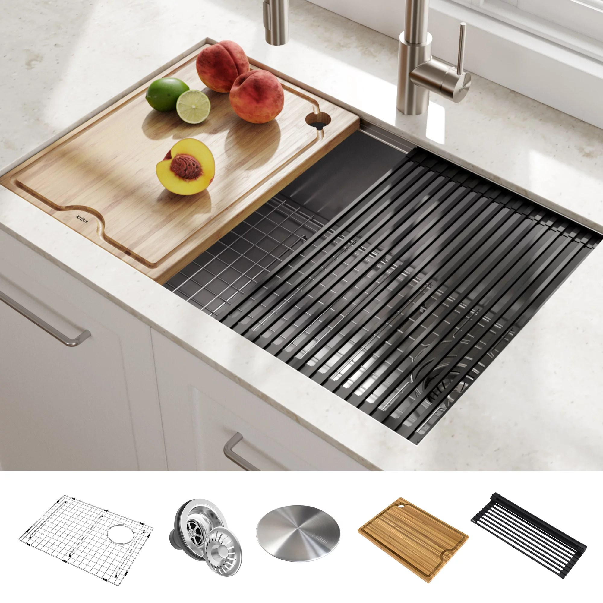 kraus kore workstation 27 inch undermount 16 gauge single bowl stainless steel kitchen sink with accessories pack of 5 walmart com
