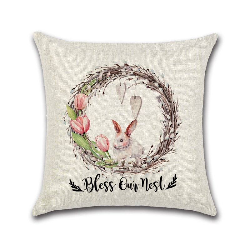 easter pillow covers 18x18 inch for home decor easter egg bunny truck decor easter throw pillows decorative cushion cases