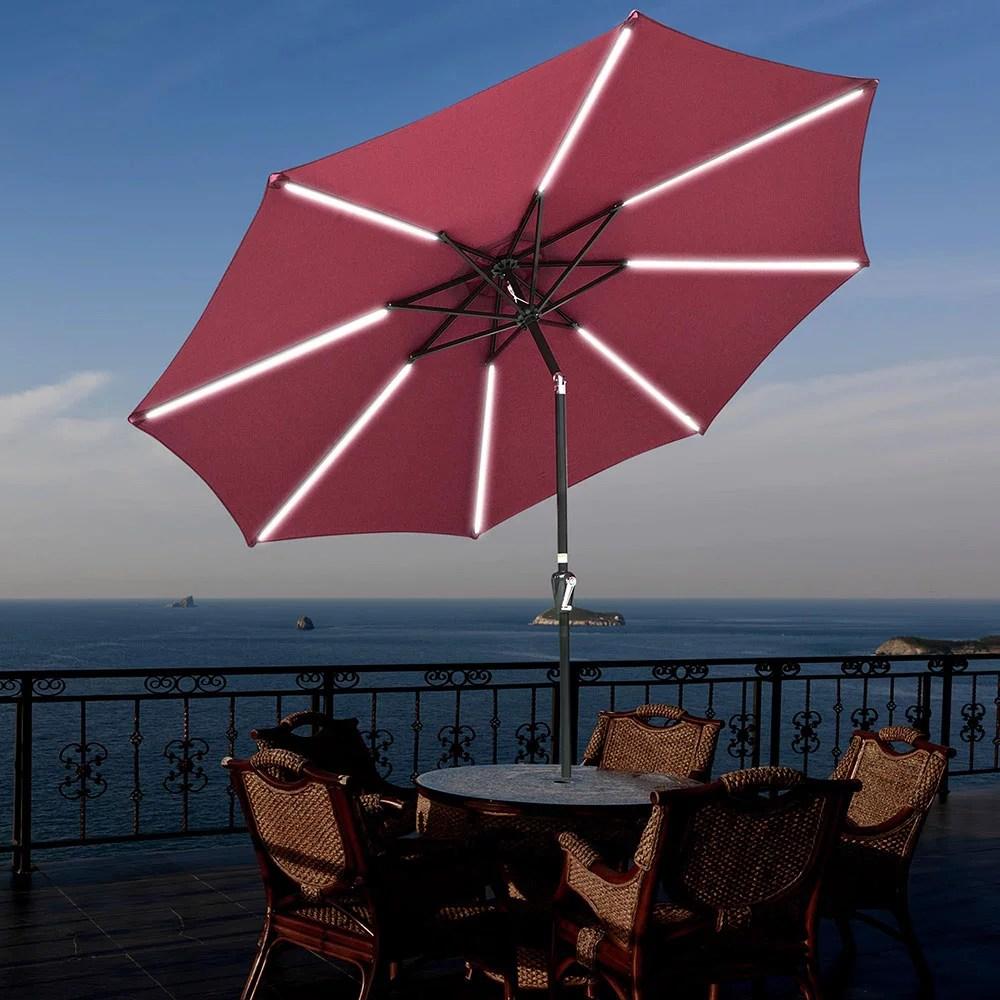 yescom 9ft 8 ribs patio umbrella with solar light tilt and crank outdoor market table umbrella for backyard pool