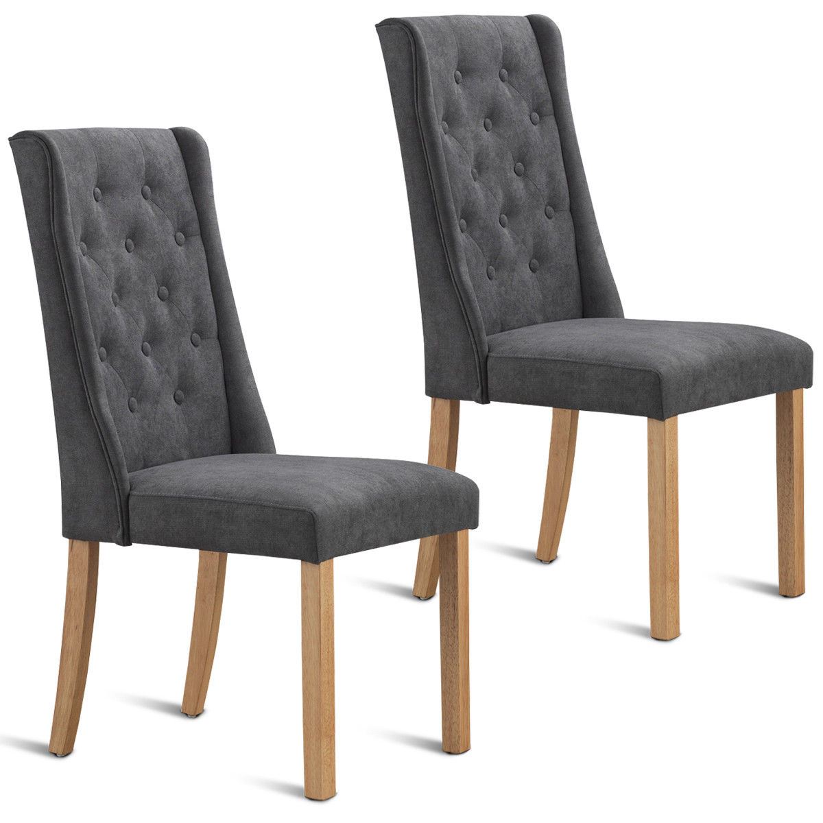 Gymax Set Of 2 Fabric Dining Chairs Armless Tufted Accent Chair Living Room Furniture