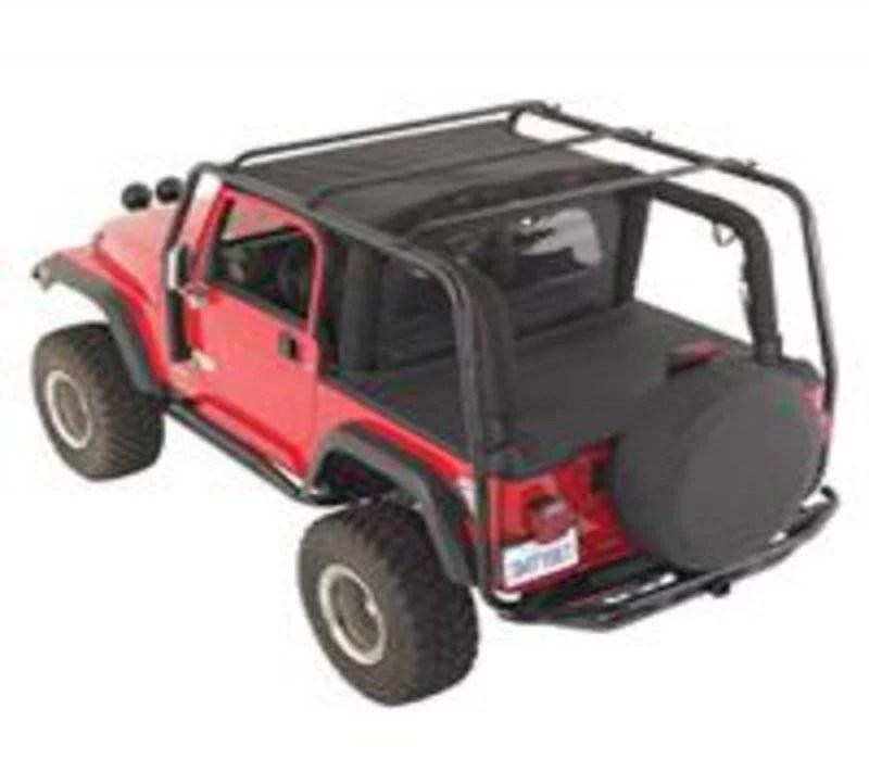 smittybilt 1987 1995 jeep wrangler yj src roof rack 300 lb rating black textured 76711