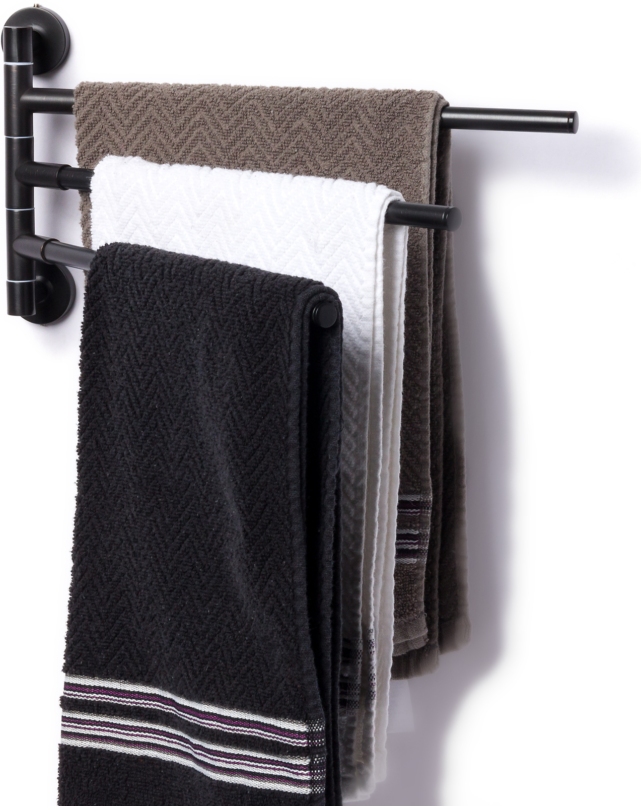 mindful design 3 prong swing arm bathroom towel bar rack