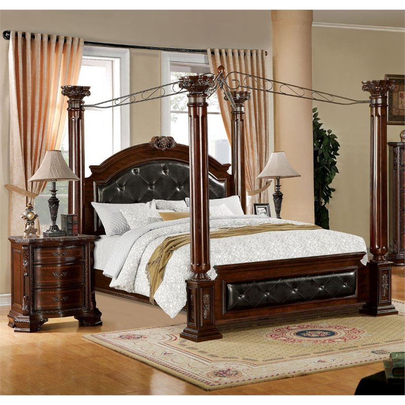 furniture of america harrington 2 piece california king canopy bedroom set