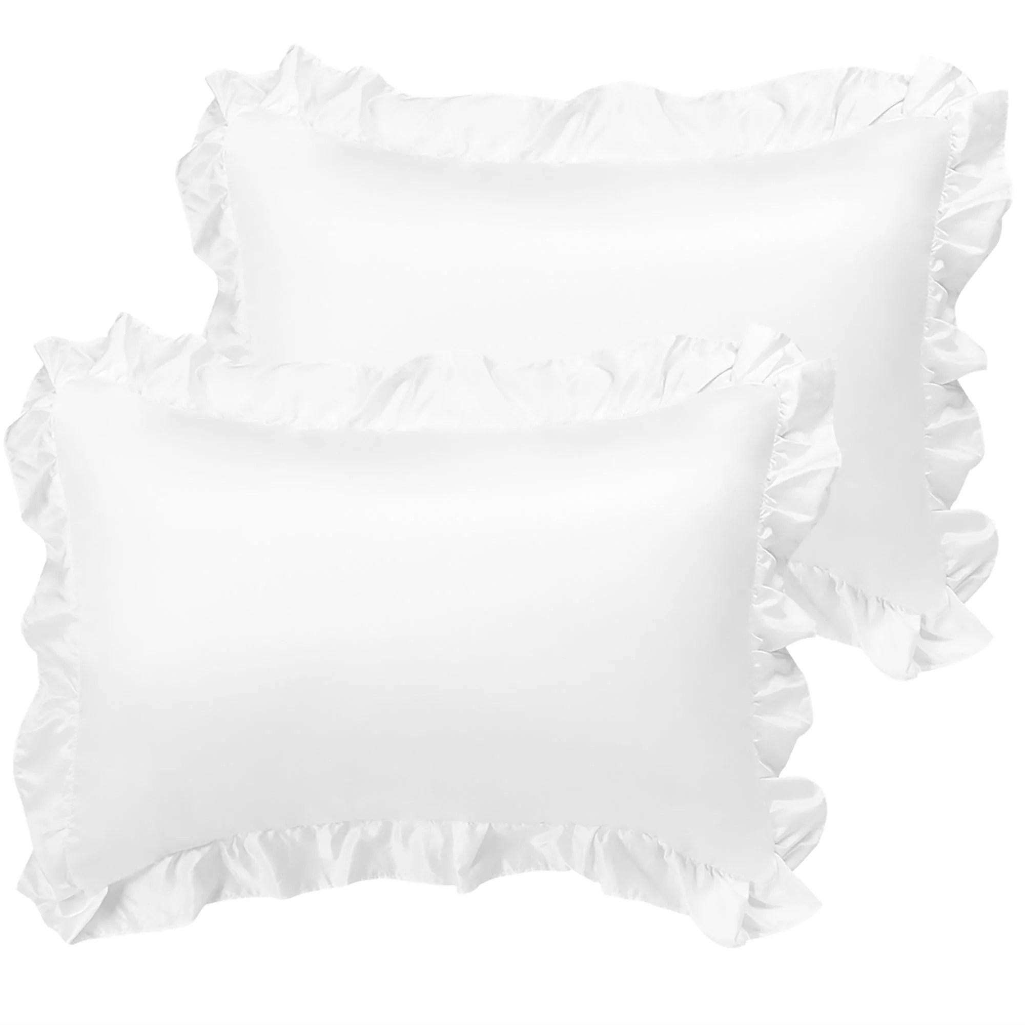 satin pillowcase king ruffled pillow shams set of 2 silky sateen pillow cases covers