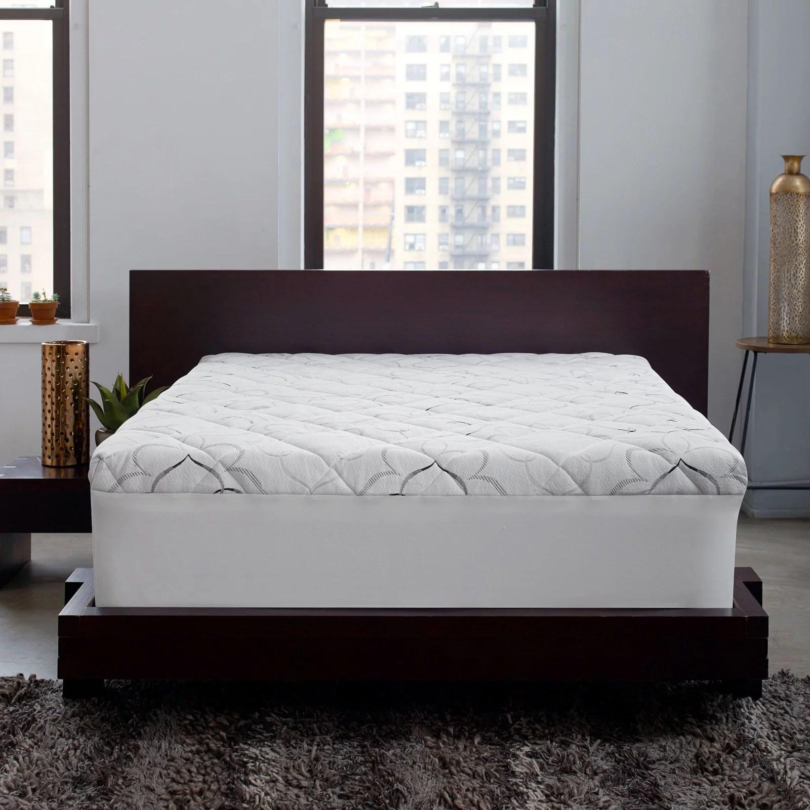 sleep innovations instant pillow top memory foam and fiber hybrid mattress topper