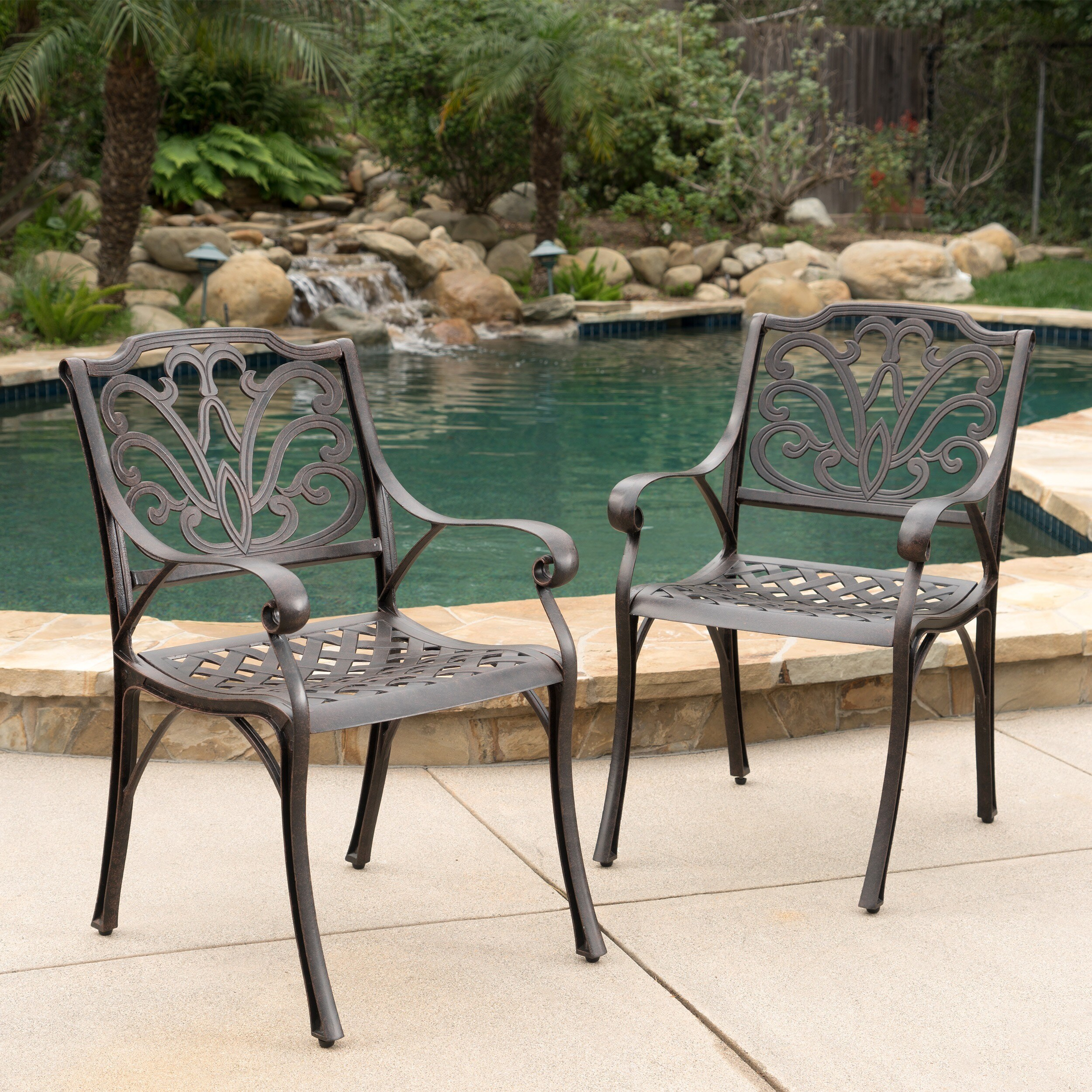 alfresco outdoor cast aluminum dining chairs set of 2