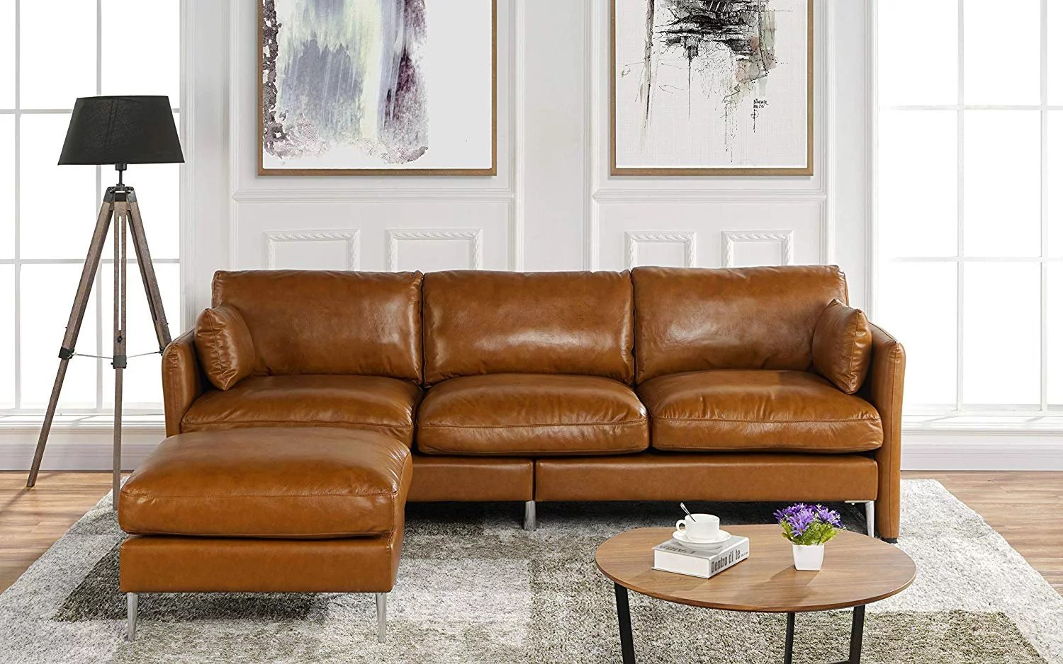 modern leather sectional sofa l shape couch 93 7 w camel