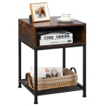 Costway Industrial Nightstand End Side Table W Compartment Mesh Shelf Rustic Brown Walmart Com Walmart Com