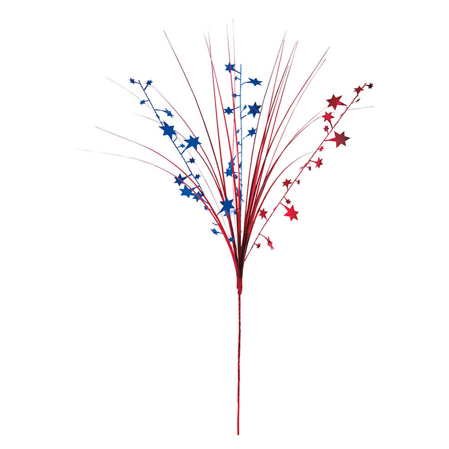 Star Foil Spray Decoration, 19 in, Red and Blue, 1ct ...