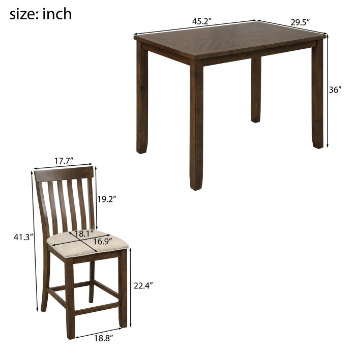 5 Piece Pub Table Set Btmway Wood Counter Height Dining Room Table And Chairs Set Contemporary Bar Table Set For 4 Kitchen Table Set With 4 Stools Space Saving Breakfast Nook Dining Table Set A52