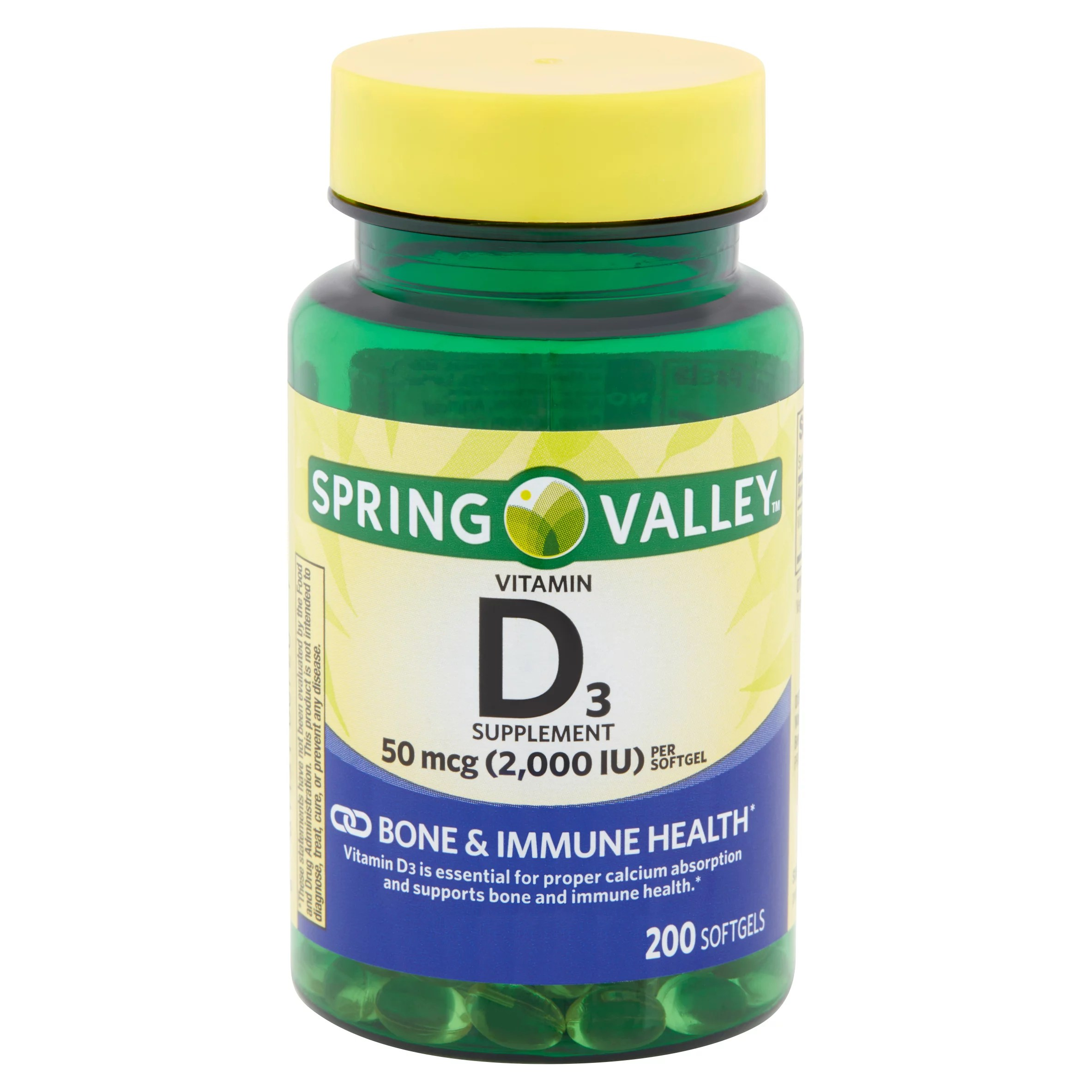 Spring Valley Vitamin D3 Softgels, 2000IU, 200Ct