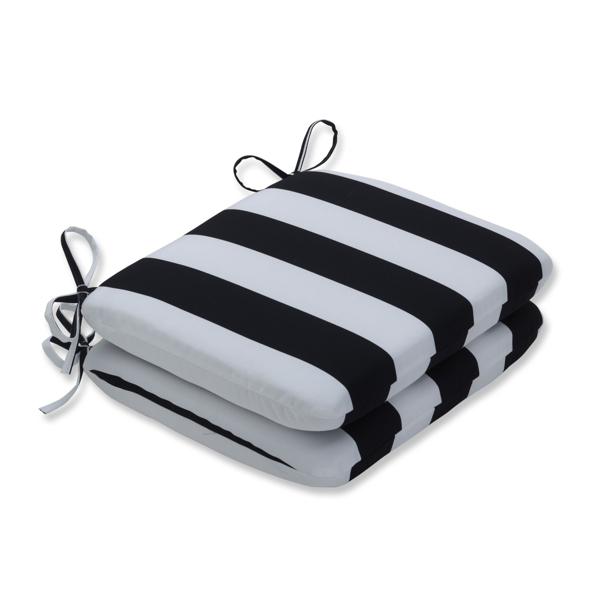 set of 2 black and white striped outdoor patio rounded corners seat cushion 18 5