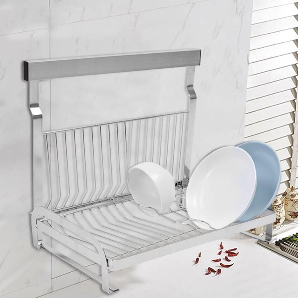 greensen wall dish rack stainless steel dish drying rack organizer wall mount kitchen bowl shelf drainer walmart com