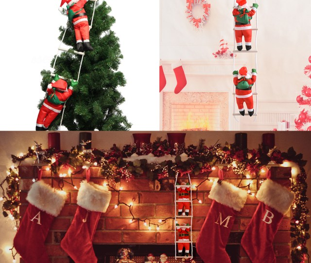 Santa Claus Climbing On Rope Ladder Christmas Tree Indoor Outdoor Hanging Ornament Decor Christmas Xmas Party