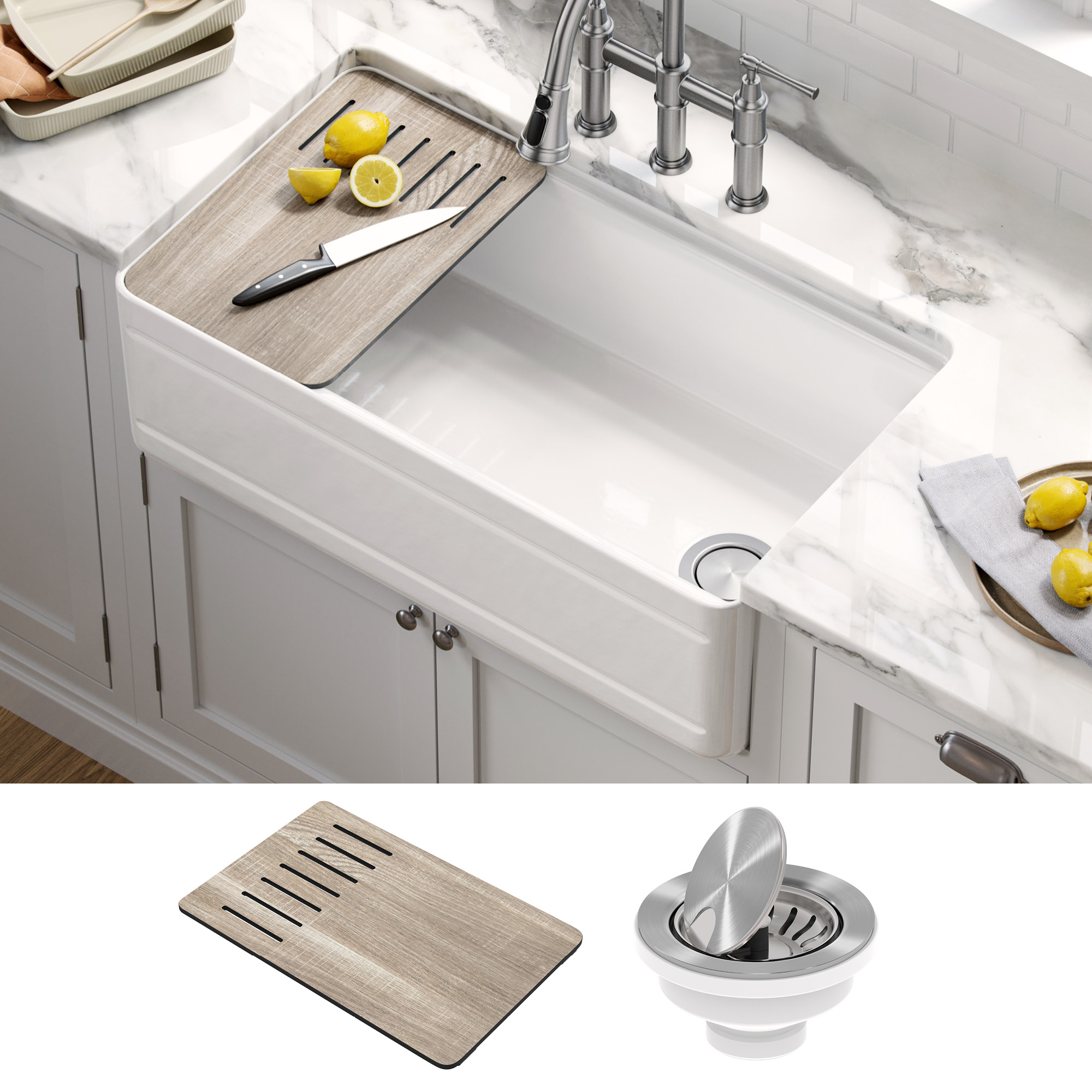 kraus turino workstation 33 inch farmhouse reversible apron front fireclay single bowl kitchen sink with accessories in gloss white