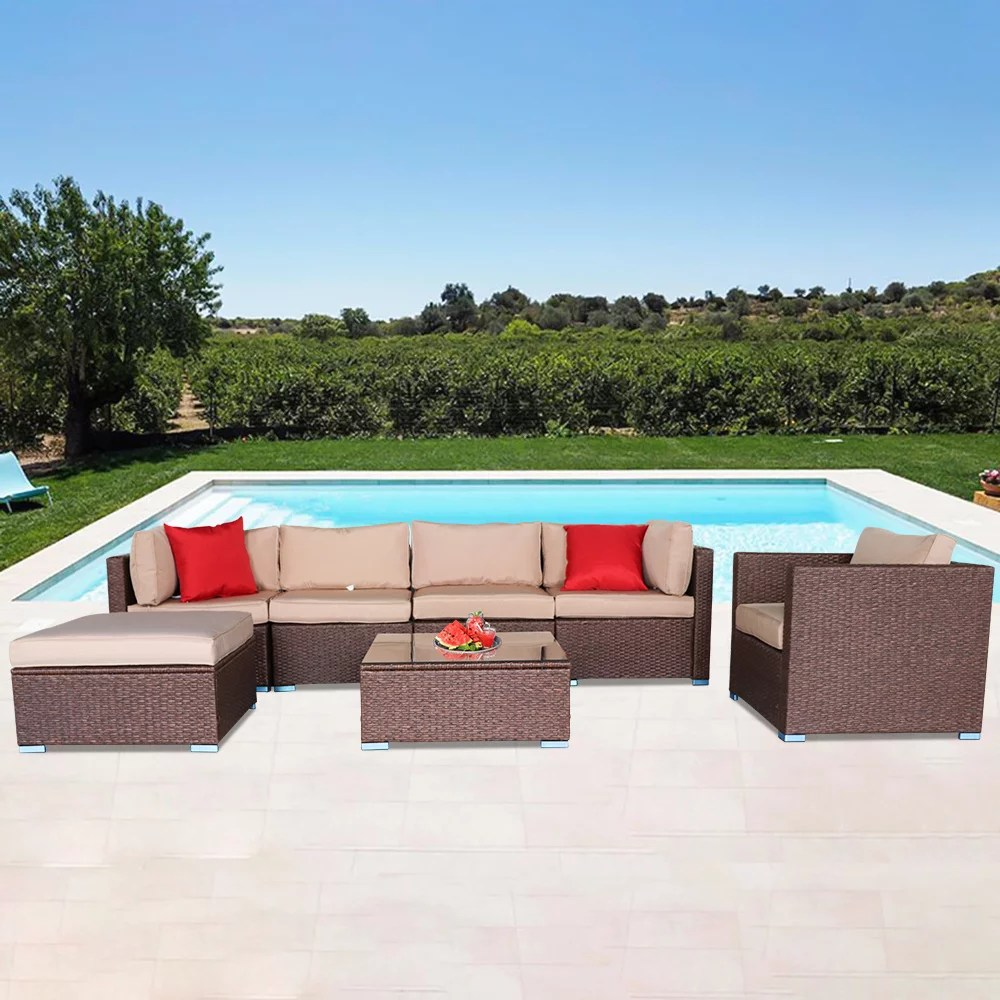 7 piece outdoor furniture sectional sofa wicker patio furniture sets with 6 sofa glass coffee table and 2 pillows garden conversation set for