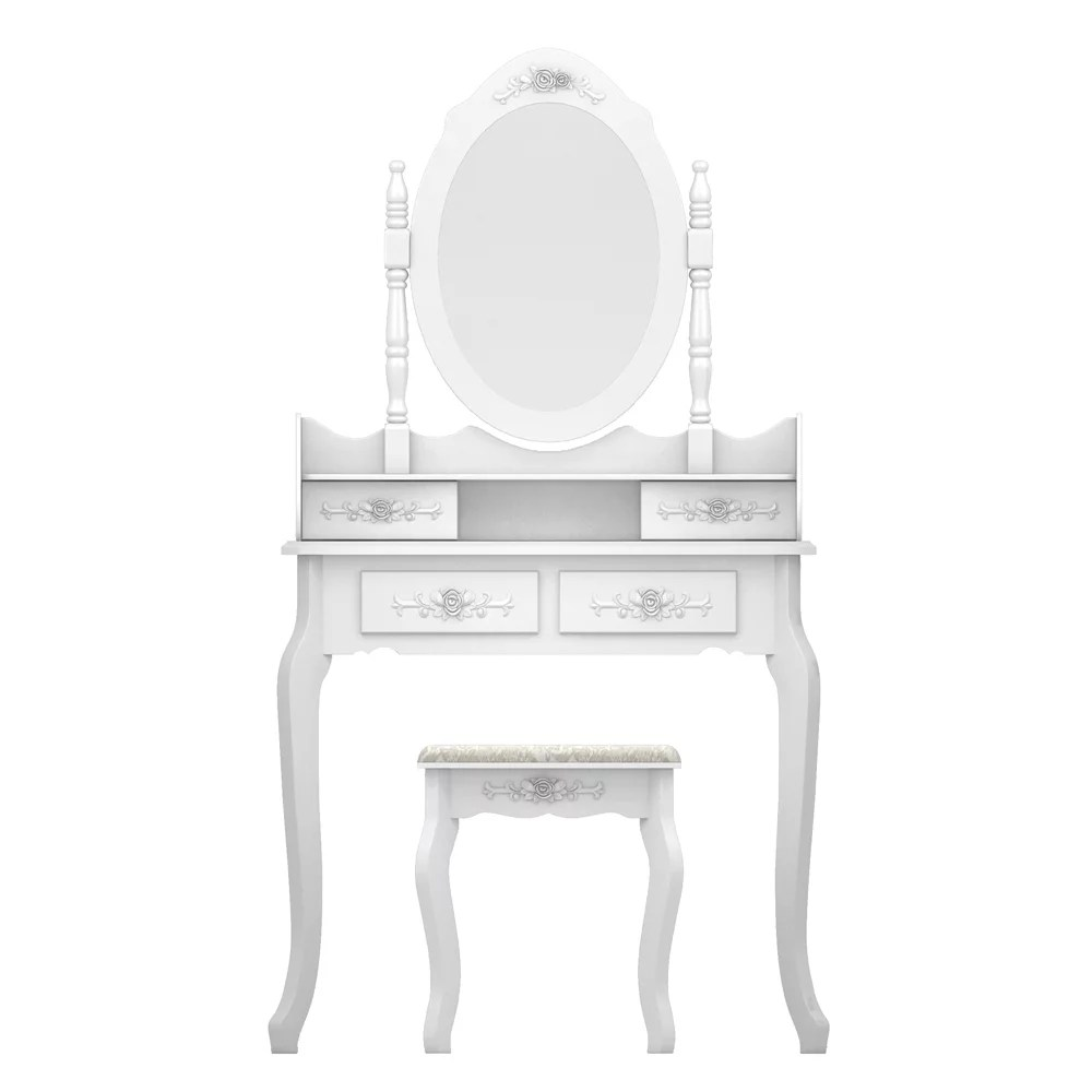 clearance makeup vanity set urhomepro heavy duty makeup dressing table with oval mirror stool and 4 drawers vanity table for bedroom bathroom