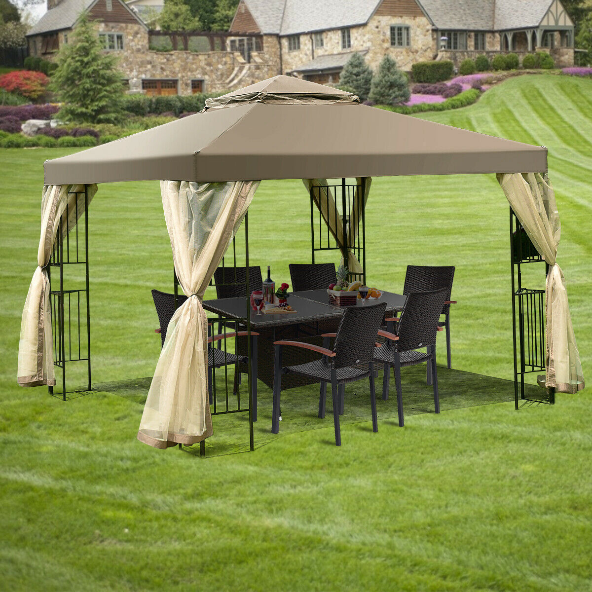 costway outdoor 10 x10 gazebo canopy shelter awning tent patio screw free structure garden