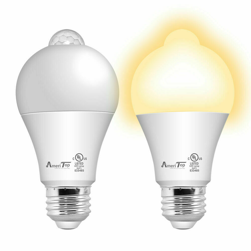 motion sensor light bulb 2 pack 10w 60w equivalent 806lm motion activated dusk to dawn security led bulb ul listed a19 e26 2700k soft white