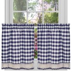 Achim Buffalo Check Kitchen Curtains Set Of 2 Tiers 58 X 36 Navy Walmart Com Walmart Com